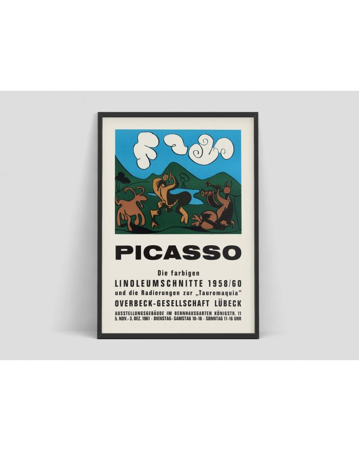 """Plakat, Picasso - Exhibition Advertising Poster Pablo Picasso """"The colored Linocuts 1958-60"""", Lubeck, 1961"""
