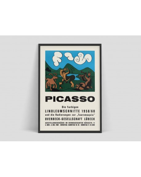 """Plakat, Picasso - Exhibition Advertising Poster Pablo Picasso """"The colored Linocuts 1958-60"""", Lubeck, 1961 - Plakaty Skandynawskie"""