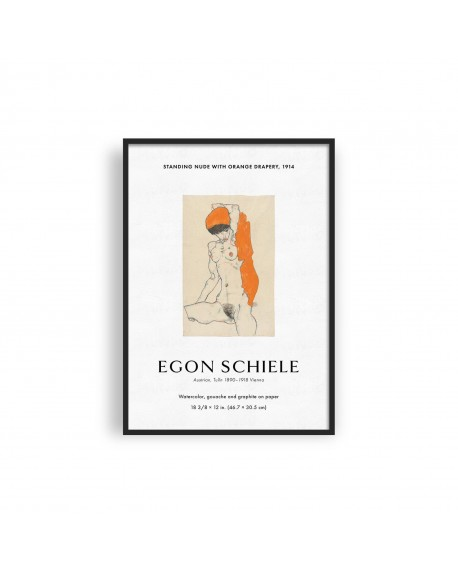 Various selection - Plakat, EGON SCHIELE, Nude Woman Sketch, Exhibition Poster - Plakaty Skandynawskie