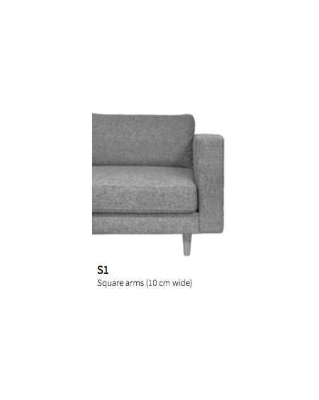Nabbe 2 seater sofa witch chaiselong / Square arms