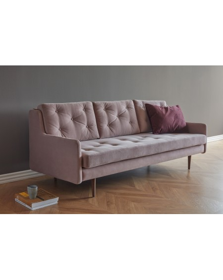 Holme sofa 3os. tkanina Velvet 608 dusty rose, nogi ciemny dąb (oak, dark stained)
