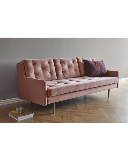 Holme sofa 3os. tkanina Velvet 607 peach, nogi ciemny dąb (oak, dark stained)