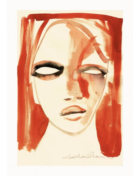 Paper Collective - Red Portrait By Loulou Avenue, 50 x 70 cm - Plakaty Skandynawskie