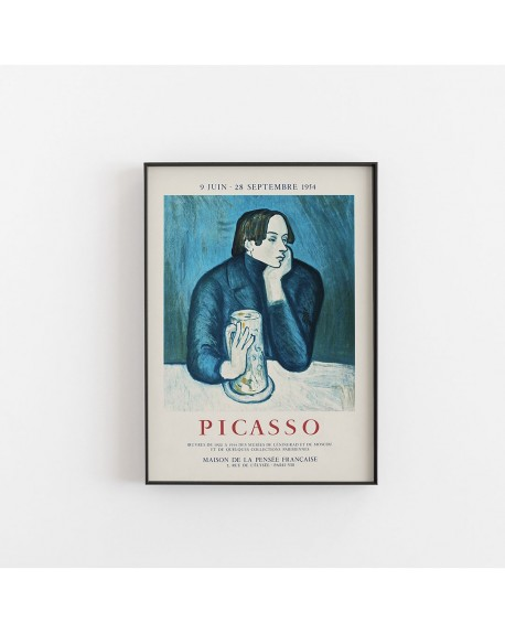 Empty Wall - Plakat, Picasso - Vintage exhibition poster lithograph created for the Maison de La Pensee Francaise - Plakaty Skandynawskie
