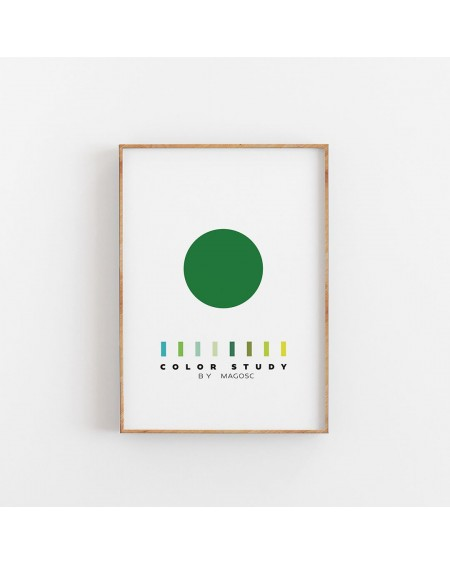 Empty Wall - Plakat Color Study Green Circle by MAGOSC - Plakaty Skandynawskie