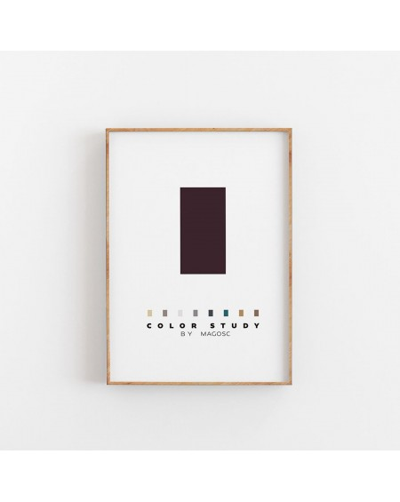Empty Wall - Plakat Color Study Burgundy Rectangle by MAGOSC - Plakaty Skandynawskie