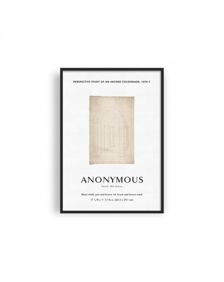 Empty Wall - Plakat Anonymous - Perspective study of an arched colonnade, 16th c - Plakaty Skandynawskie
