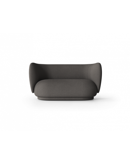 Ferm Living - Rico 2-seater- Boucle, Warm Dark Grey - Sofy Skandynawskie