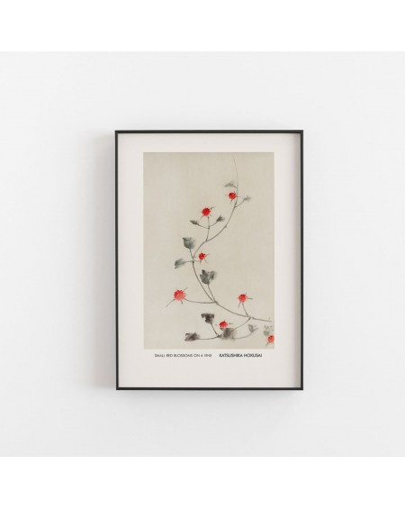 Empty Wall - Plakat Katsushika Hokusai - Small Red Blossoms On A Vine - Plakaty Skandynawskie